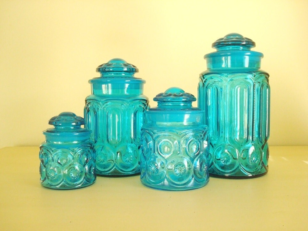 moon star colonial blue canister set le smith turquoise. Black Bedroom Furniture Sets. Home Design Ideas