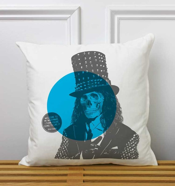 Items similar to decorative pillow alice cooper skull for Punk rock bathroom decor