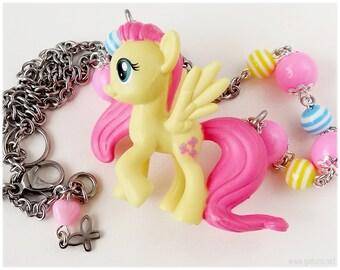 My Little Pony Fluttershy Necklace, Beaded Stainless Steel Chain with Figure Pendant - Fairy Kei, Street Fashion