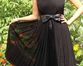 Vintage 1960s Black Chiffon Dress