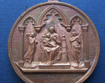 Antique Madonna With Angels Religious Medal Saint  Aloysius Gonzaga Signed Penin SS186