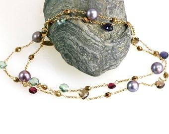 24 inch Gemstone Rope Necklace, Multi Gem Gold Chain,Pearls and Gemstones, Garnet Necklace
