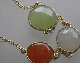 Chalcedony Bezel Gold and Gold Filled Chain Bracelet