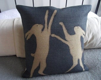 hand printed reversible  blues boxing hares cushion cover