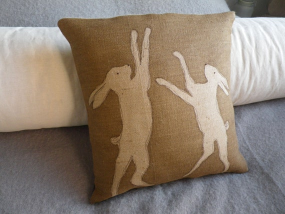 hand printed natural  rustic hare cushion cover