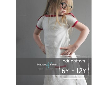 PlayDay Dress PDF pattern and tutorial 6-12 EASY SEW tunic dress jumper
