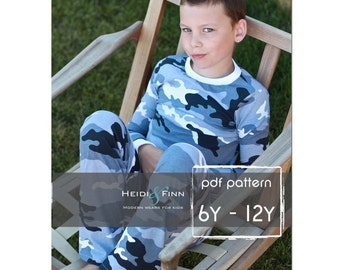 All you Need Jammies pajamas pdf pattern 6-12y EASY SEW leggings tee shirt nightgown