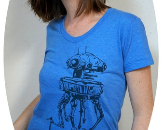 Star Wars T-Shirt Imperial Probe Droid Women's American Apparel  Tee in Heather Lake Blue