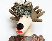 Soft Sculpture Dolls, Life Size Doll, Reindeer, Christmas Doll, Soft Sculpture Art, Vintage Doll, Adopt a Doll
