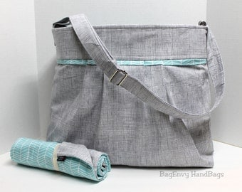 Monterey Large Diaper Bag Set - In Heath Grey with Aqua Herringbone - Or design Your Own - Adjustable Strap and Elastic Pockets