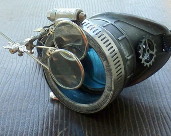 Steampunk goggles monocle eyepatch costume biker glasses blue lens cyber gothic Silver