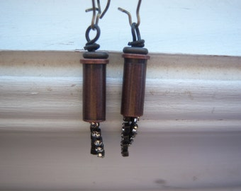 Steampunk Earrings - Dangle Earrings - Steam Whistle Earrings - Train Whistle Earrings -