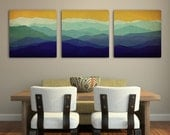Mountain Memories Illustration TRIPTYCH  - Smoky / Green - Mountains  Stretched Canvas (3) 20x20x1.5  Ready to Hang Wall Art