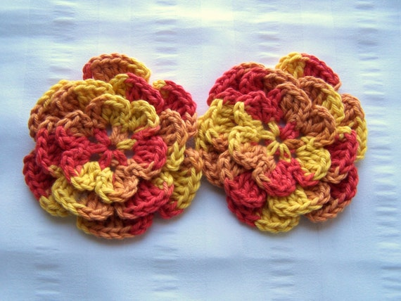 Crocheted flowers 2 appliques 3.5 inch embellishment sew on in heat wave multi