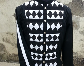 Black and White Diamond Covered, Circus Inspired with Military Styling-The Harlequin Jacket