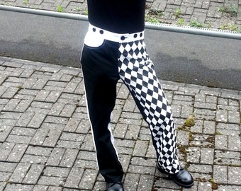 Hardwearing, Black and White, Circus Styled, Venetian Inspired- The Harlequin Jeans