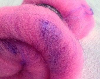 Fluffy Spinning Batt Pink Purple Sparkle Fiber wool Art Batt Fibre Felting Shetland Wool Bubble Gum