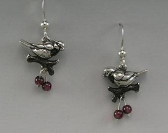 Winter Chickadee Sterling Silver Earrings, Garnet