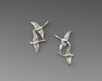 Double Geese Sterling Silver Post Earrings