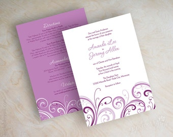 Radiant orchid wedding invitations, orchid wedding invitation, purple wedding stationery, lilac purple, radiant orchid purple, violet Buccia