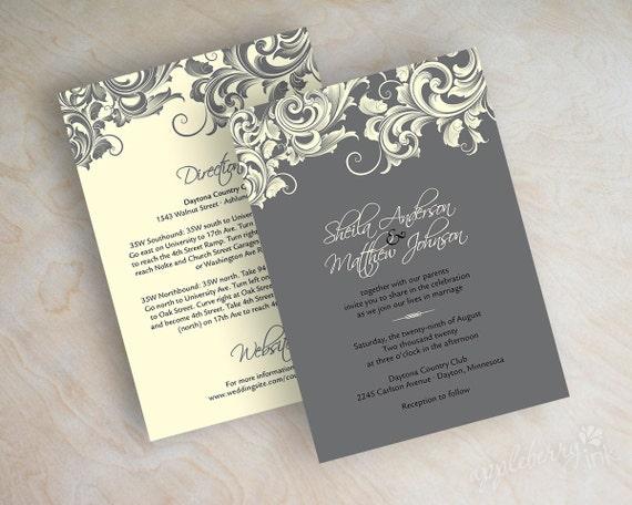 Wedding invitations, victorian filigree pattern design wedding stationery in charcoal gray and ivory, Jora