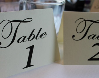 Elegant Wedding Table Numbers - ivory - your choice of frameable flat or tent - custom color text