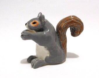Ceramic Squirrel Sculpture, Hand-Built Squirrel Figurine, Squirrel Cake Topper Keepsake