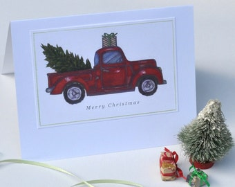 Christmas Tree Card in a Red Pick-Up Truck Illustrated/Set of Three