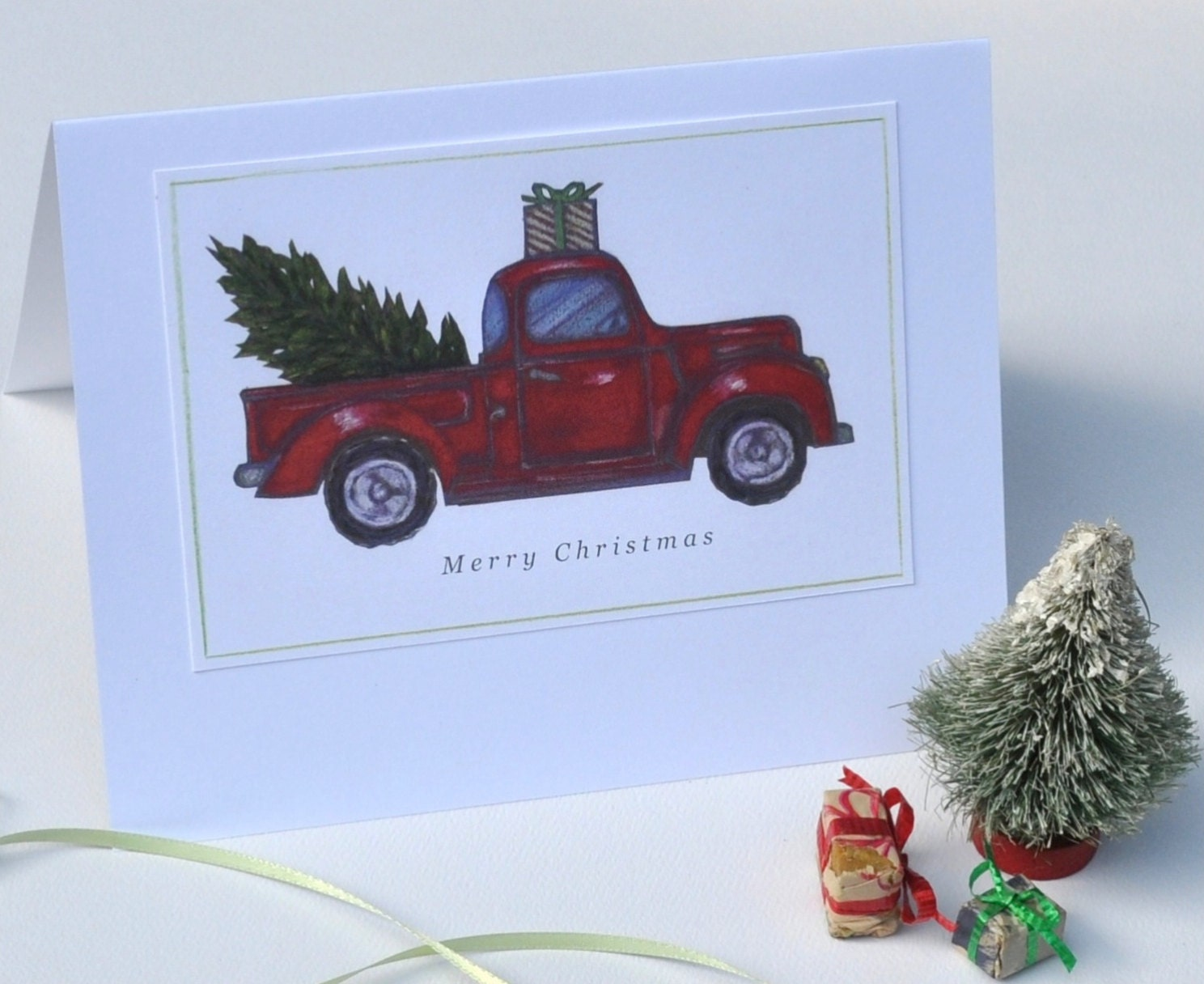 Christmas Tree Card in a Red Pick-Up Truck Illustrated/Set of