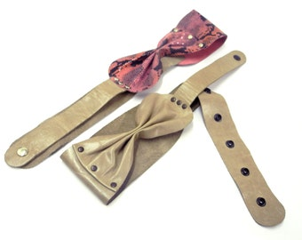 Women wide gray leather belt - pink and gray bow belt - gift for her - leather accessory- BOGO SALE