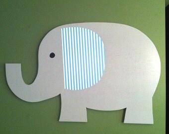Elephant nursery, elephant wall art, large wood elephant, gray elephant, nursery decor, kid's room decor,