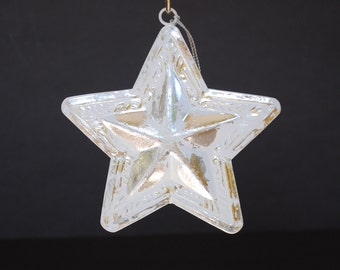 Silver and White Ceiling Tile Metal Star