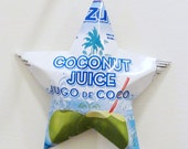Azul Coconut Juice, Jugo de Coco, Coconut Water Stars, Christmas Ornaments, Aluminum Can Upcycled, Blue, White, Green, Palm Tree