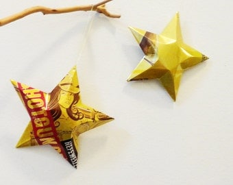 Shotgun Betty Beer Star, Recycled Beer Can Ornaments, Upcycling. Yellow, Red,  Lonerider Brewing, Hefeweizen