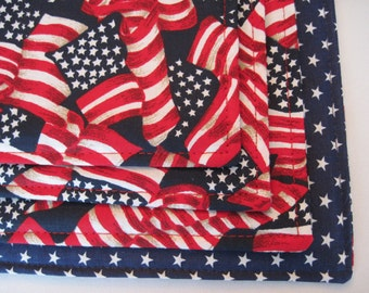 American Flag Placemats Red White and Blue Placemats Waving American Flag Placemats Set Patriotic Placemats Stars Placemats 4th of July