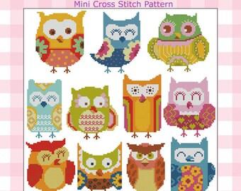 Hooties Funky Owls Minis Cross Stitch PDF Chart