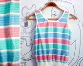 Vintage 1970s Chenille (like) Pastel Striped Tank Top by Aileen Size S