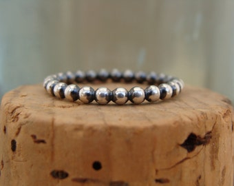 Oxidized Sterling Silver Stack Ring--Larger Bead--Dotted--Handcrafted--Sweet & Simple