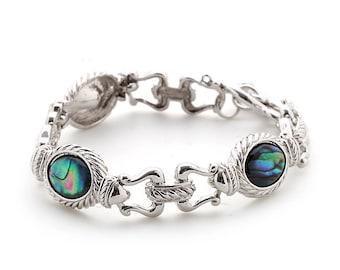 Mother of Pearl Flower Design Oval Colorful Dark Green Shell Link Bracelet