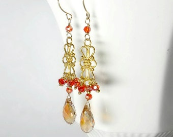 Crystal Chandelier Earring, Gold Chandelier Earring, Crystal Cluster Earring, Yellow Orange SALE