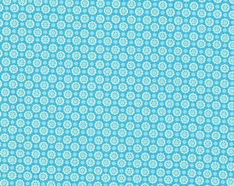 Flower Sugar Fall 2013  Blue Medallions on White Cotton Fabric  by Lecien 30845-71