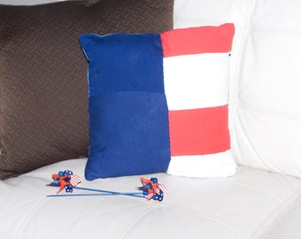 Upcyled All American Square Pillow 13x13