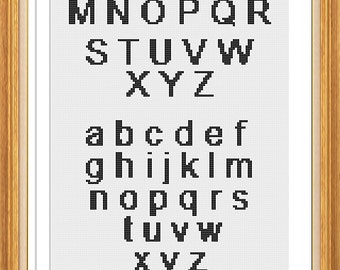 Cross Stitch Alphabet Pattern Plain font (LG0007)