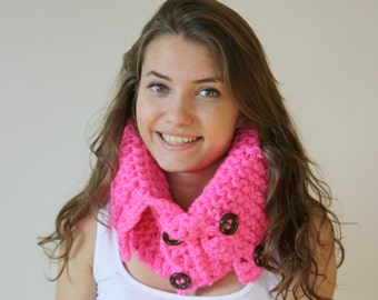 Neon Pink Scarf Shawl Neckwarmer Cowl Mothers Day gift for women girls gift Under50