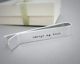 """Tie Bar with Infinity Symbol on Outside & """"always my hero"""" stamped on the inside, Dad gift, Father of the Groom, Gift from Son, Brother Gift"""