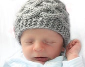 Knit baby hat Newborn photo prop Baby Boy Hat Newborn Baby Beanie Baby Girl Gray winter Knitted Infant Hat celtic knot cap