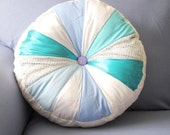 SALE FROZEN Theme Round Pillow with Stuffing Girls room decor Sparkling decorative pillow Pinwheel pillow Blue and white pillow 16""