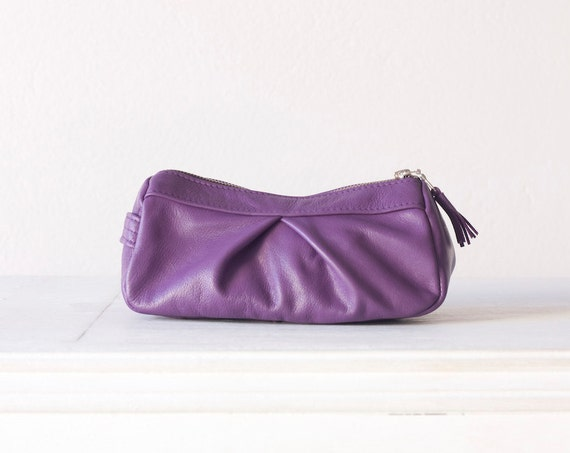 Leather makeup case, cosmetic bag in Purple