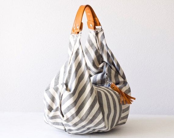 Slouch hobo bag shoulder purse in cotton canvas and Orange