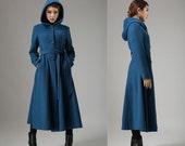 Blue coat, wool coat, swing coat, womens coat, long coat ,hooded coat, trench coat, dress coat, ladies clothing, winter coat, Gift (739)